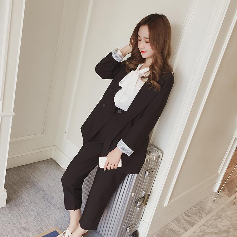 五季家大码女装西装上衣女套装两件套显瘦减龄休闲韩版英伦风春装