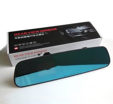 Бесплатная доставка по китаю автомобиль высокая Очистить автомобиль зеркало заднего вида Приводной рекордер один зеркало Гоночный автомобиль с загруженным видеороликом 3.2 синий экран