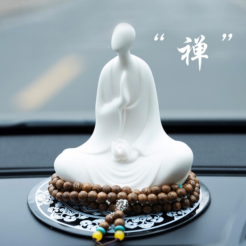 陶瓷汽车车载摆件保平安禅意无相佛像创意个性香水车内仪表盘饰品