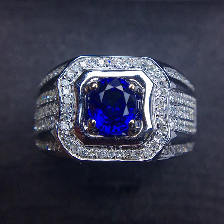 Jewelry custom 18K gold diamond inlaid with natural color Royal sapphire mens ring jewelry jewelry n