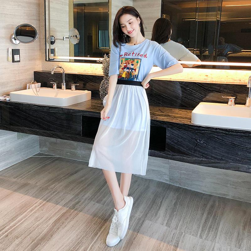 坚果服饰夏装女装新款印花T恤裙+网纱半身裙套装短袖中裙短袖圆领