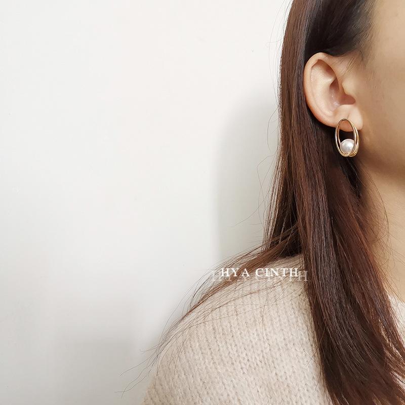 中國代購|中國批發-ibuy99|耳钉|韩国东大门时尚新款椭圆形珍珠耳环CHIC超仙极简风时尚耳钉耳坠女