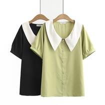 2020夏装新款大码女士休闲上衣小清新娃娃领撞色雪纺短袖简约衬衫