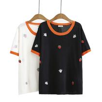 200斤胖MM夏装新款大码上衣韩版小清新圆领撞色刺绣冰丝针织T恤