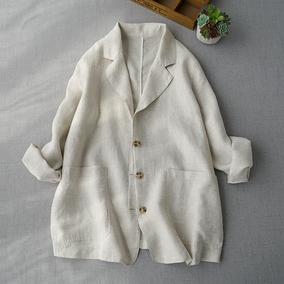 舒适亚麻西装薄款外套新品宽松女装