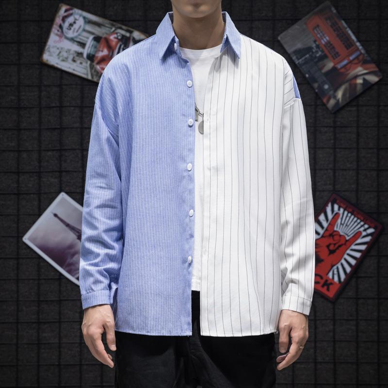 2019秋季 日系 条纹男士 长袖衬衫A009-C399-P50 85棉 15涤纶 白