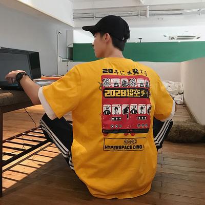 2男士短袖T恤潮牌潮流个性原宿港风半袖ins大码韩版体恤T353-P35