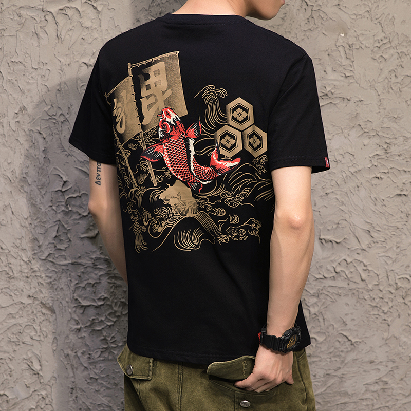 25夏装中国风韩版潮流男装短袖半截袖T恤加大码男日系T恤T13-P35