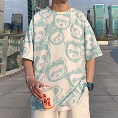 11短袖t恤男加大码港风宽松大码夏装潮牌休闲印花体恤衫T227-P30
