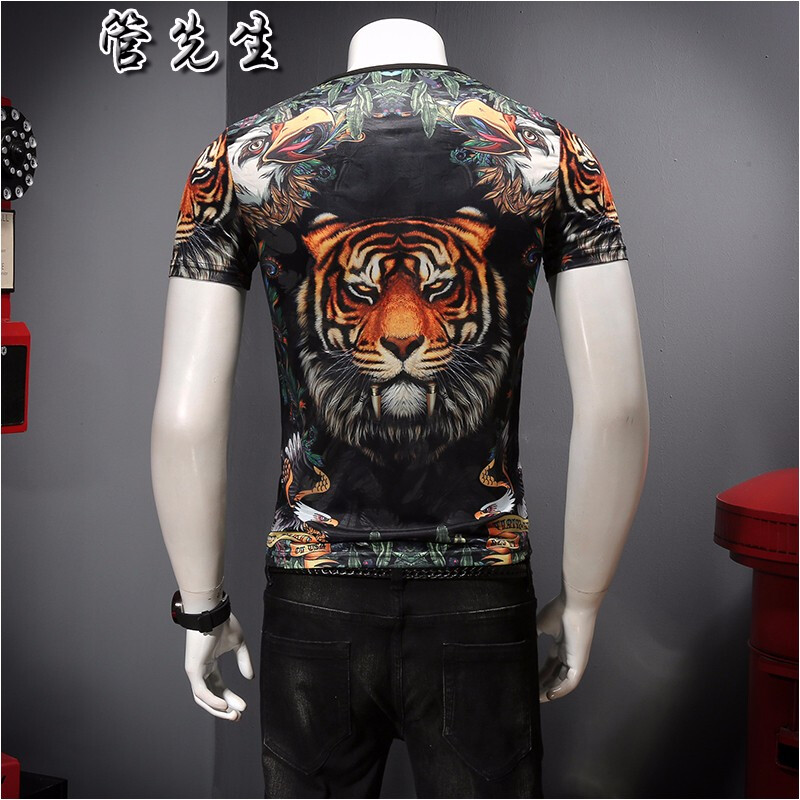 Ice silk domineering underworld short sleeve T-shirt for men 2020 summer new tiger head printed mesh hollow out round neck