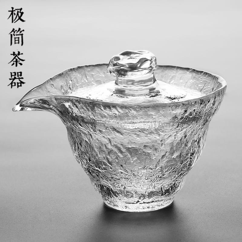 日式初雪加厚耐热玻璃三才盖碗茶杯功夫泡茶碗手抓壶茶具套装大号(非品牌)