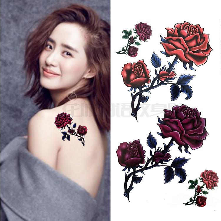 性感彩色玫瑰花 防水纹身贴女款持久逼真 遮疤痕肩膀腿部贴花