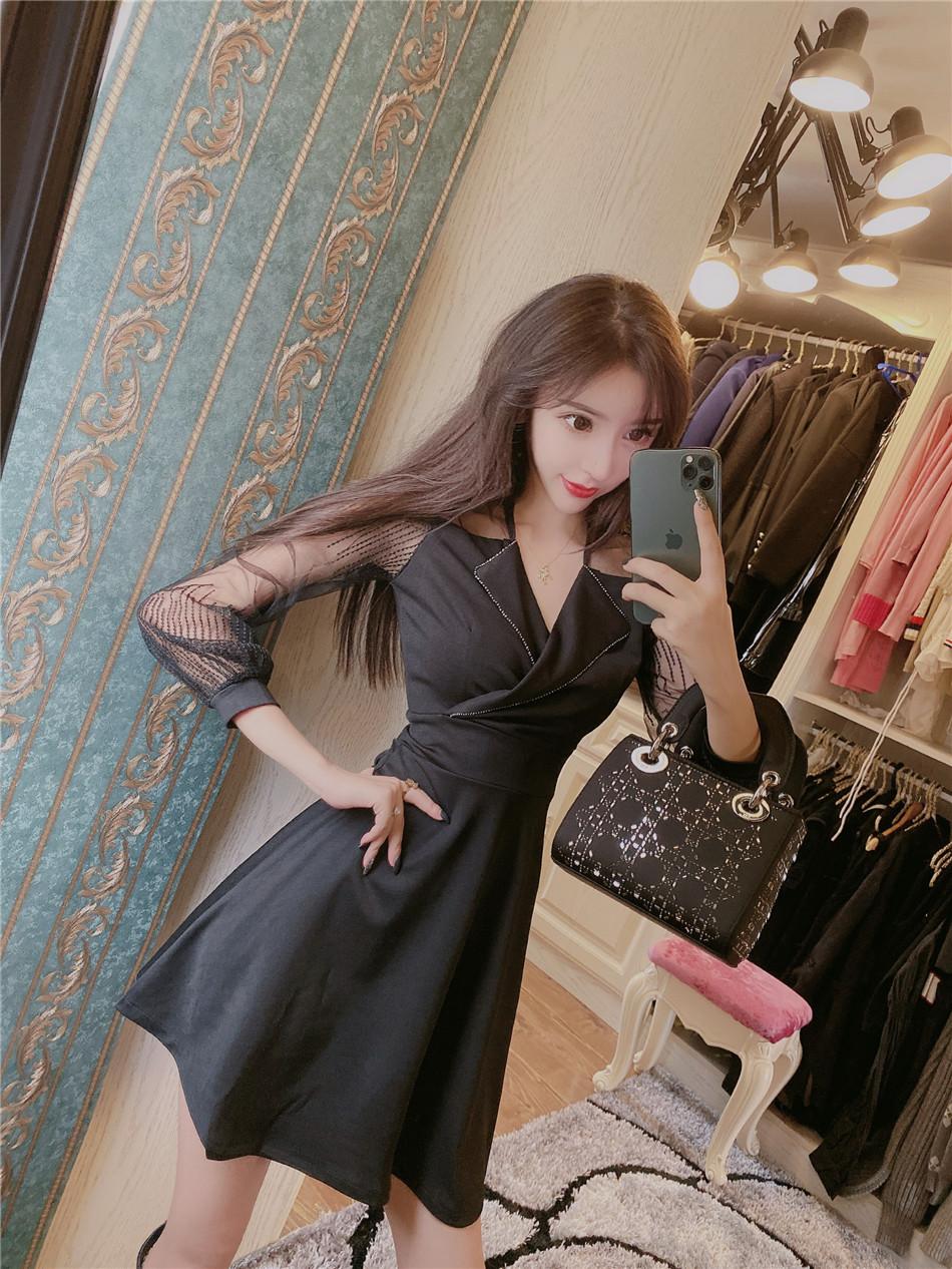 實價實拍 韓版優雅時尚氣質網紗拼接復古翻領連衣裙女