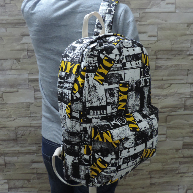 Japanese and Korean fashion graffiti backpack high school students schoolbag canvas leisure backpack