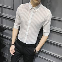 C314-9559P55/英伦灰墙2020夏季男士中袖潮流衬衫透明舞台装M-3XL