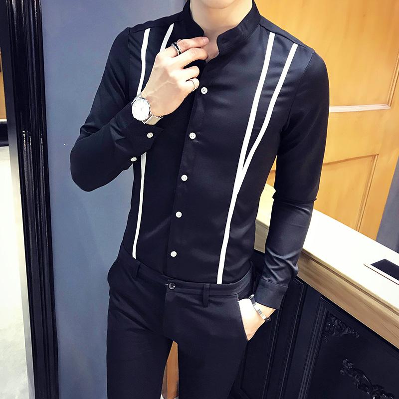 C314-9501P45/店主风2020春季男士长袖衬衫立领假背带衬衣发型师
