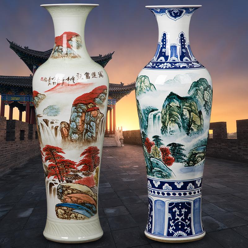 景徳鎮陶磁器の大きな花瓶の手描きと青と白の山水新房は贈り物をします。