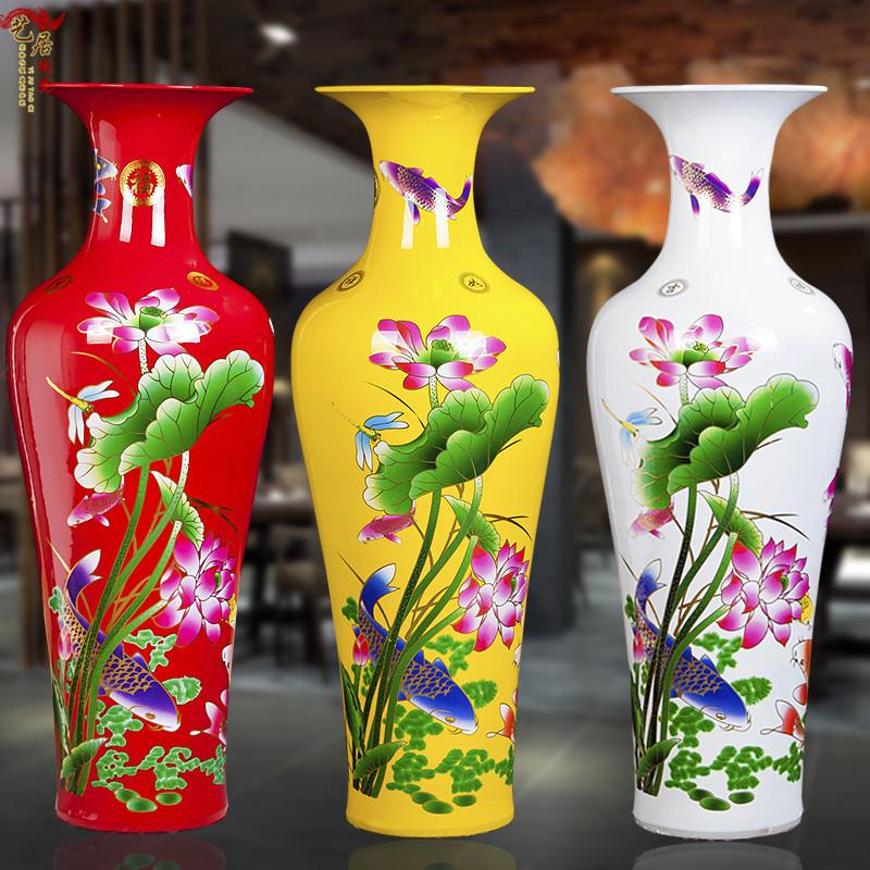 景徳鎮の陶磁器の居間は着地して毎年余裕があります。中国式の簡単で現代的な大きいサイズの新しい部屋に大きな花瓶を飾ります。