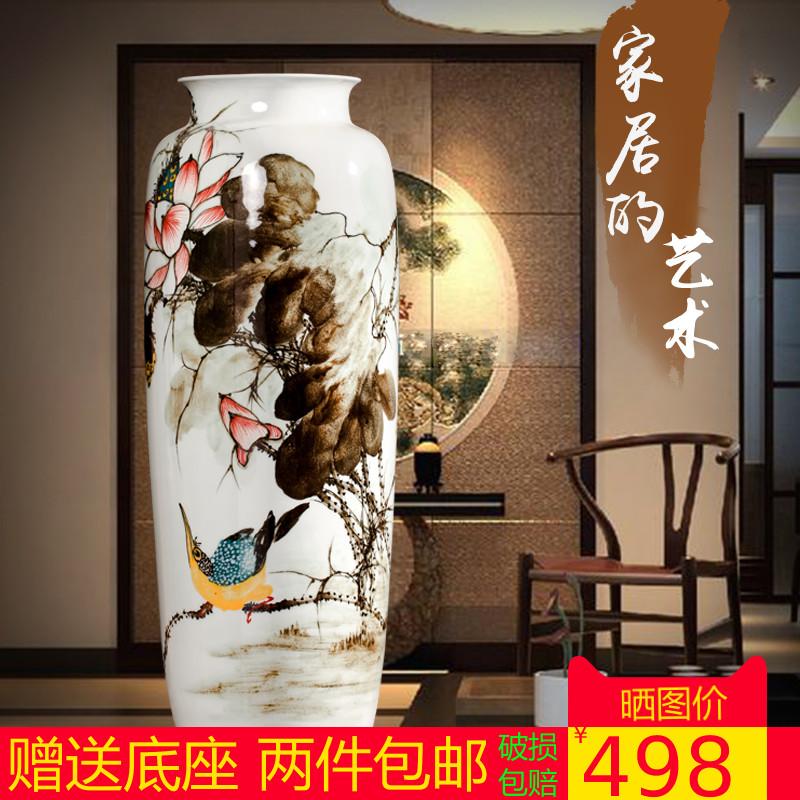 景徳鎮の陶磁器の高級な手描きの花瓶は中国式の客間テレビキャビネットの家庭装飾工芸品の置物を簡単に予約します。