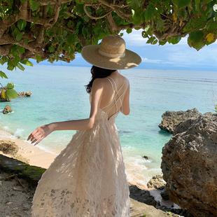 巴厘島沙灘裙超仙露背性感收腰吊帶長款仙女裙氣質海邊度假連衣裙