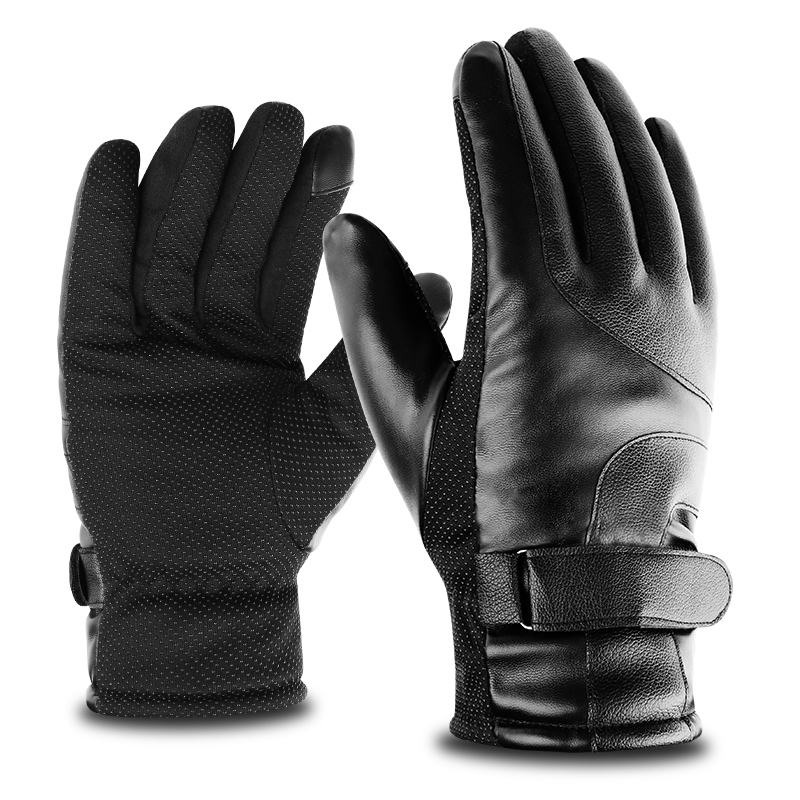 Boys increase cold resistant autumn leather gloves mens touch screen boys with fur thick touch screen to protect warm leather touch screen