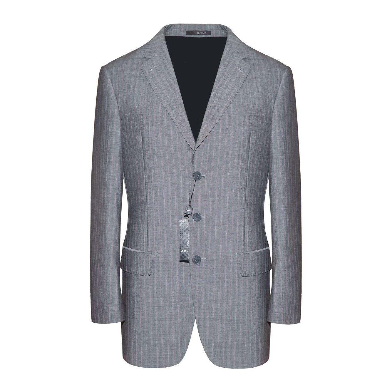 罗蒙男装春秋商务西服灰色条纹羊毛三粒扣不开叉男装西装上衣
