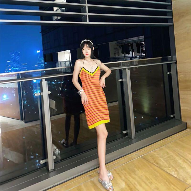 YW2020长款t恤女夏季新款钩织橘色条纹v领露背吊带背心连衣裙女
