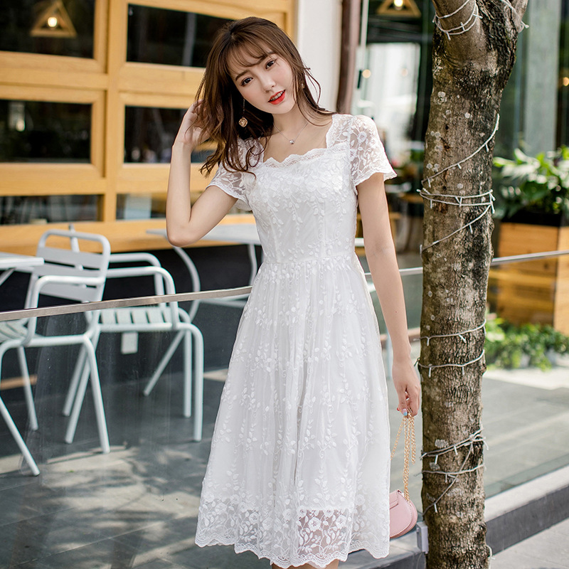 Summer new style lace skirt elegant square collar dress mothers dress girlfriends summer designer womens dress