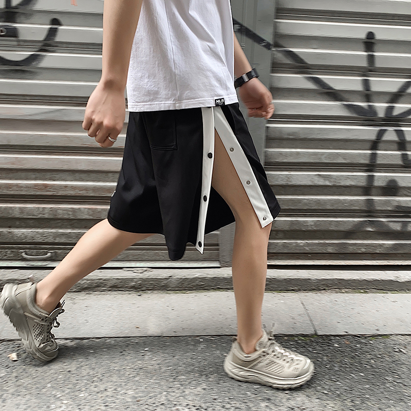 Summer new youth basketball pants button loose second pull off pants training pants fashion brand sport five point short men