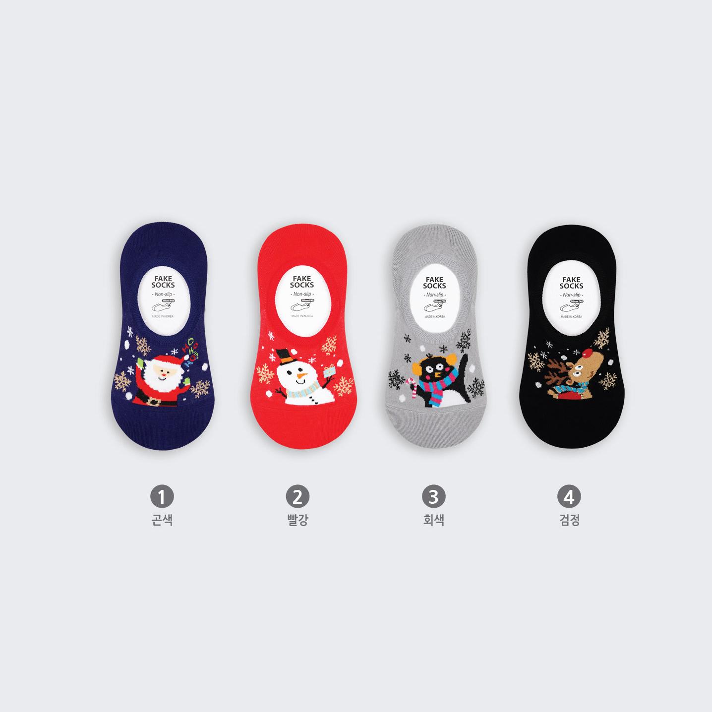 GY韩袜 韩国袜子 秋新年红色女棉袜 卡通圣诞麋鹿雪人船袜 浅口袜