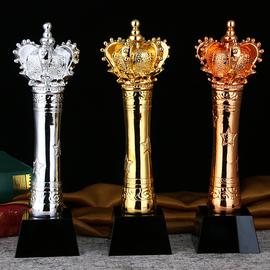 皇冠 金银铜 水晶奖杯定制团体冠军镀金奖品金属奖杯定做制作刻字图片