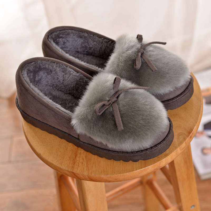 2017 winter new heavy-bottomed female cotton slippers plush suede bag with warm cotton-padded shoes month of home trailer
