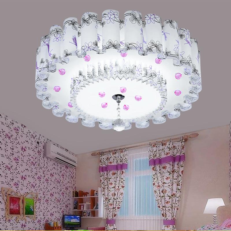 LED客廳臥室燈溫馨浪漫水晶吸頂燈現代簡約婚房圓形公主房間燈具