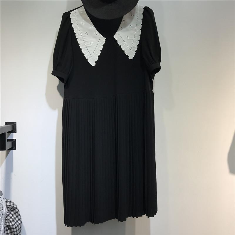 可路依KLY.LK8855刺绣娃娃领连衣裙2021夏新款韩版修身雪纺百褶裙