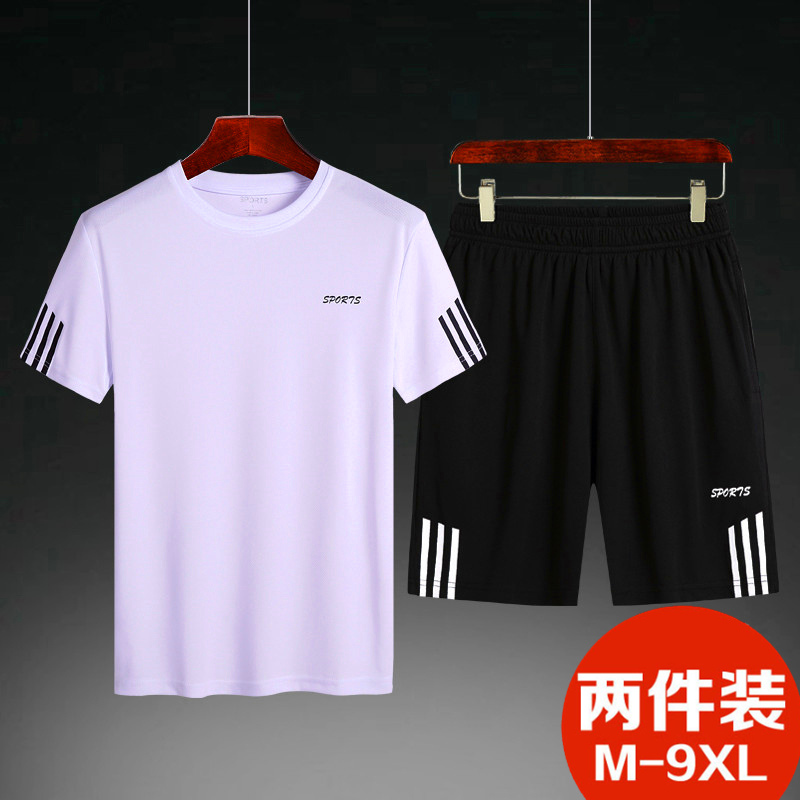 Middle aged short sleeve short pants suit mens sports quick drying T-shirt xiajiafei plus size loose casual pants 250jin