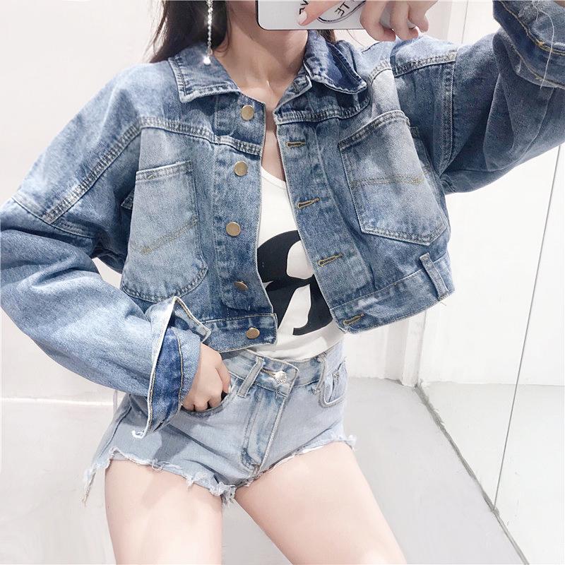 短款单排扣宽松显瘦牛仔上衣女装2018夏季新款韩版学生百搭外套