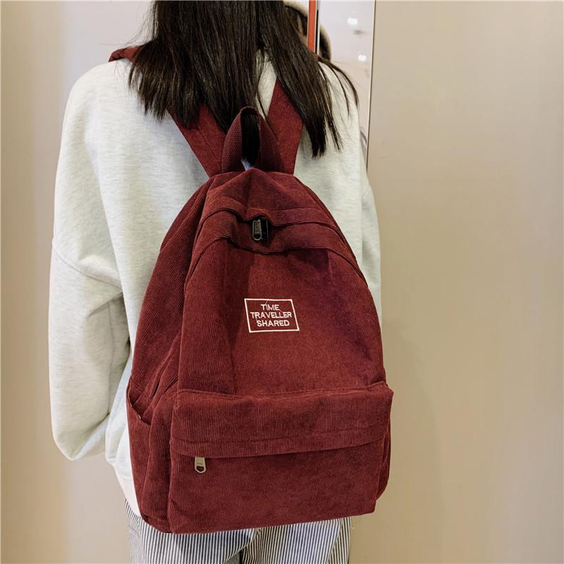 Classic girl schoolbag womens Retro corduroy Backpack