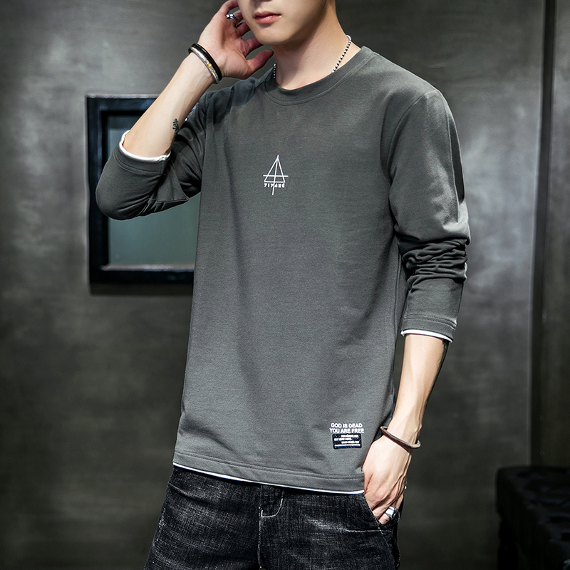 Men's long sleeve T-shirt 2020 spring and autumn new loose clothes Korean version trend with bottom coat and autumn clothes for men