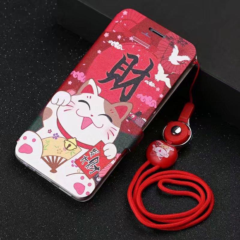 iphone6S手機殼7蘋果6plus保護皮套X翻蓋式女款帶掛繩8全包邊5S男iphone