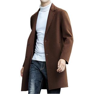 毛呢大衣男中长款潮流学生英伦风帅气休闲韩版双面羊毛呢子外套男