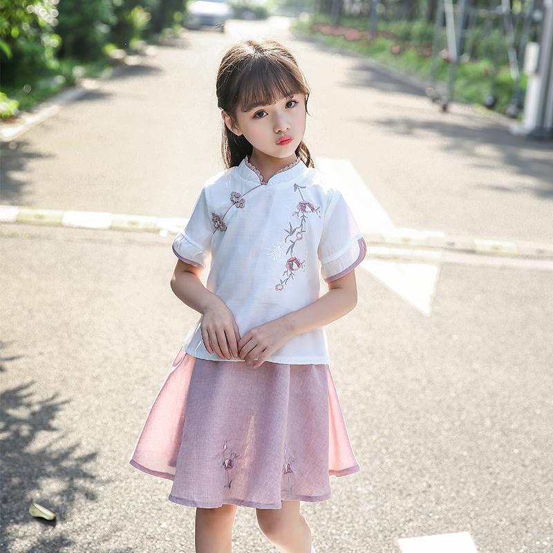 女童汉服2018新款夏改良中国风儿童装民族风古装仙女棉麻唐装套装