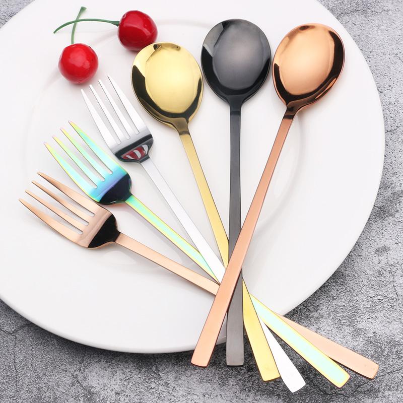 创意加厚大号韩式不锈钢餐具西餐勺成人家用汤勺长柄吃饭调羹汤匙