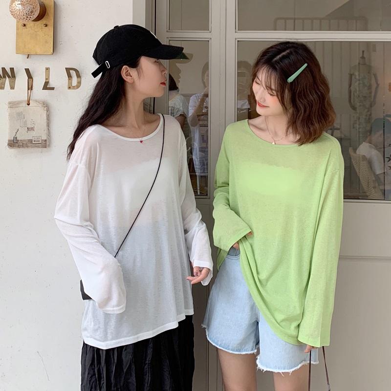 售价加5实拍实价2019韩版新款外出长袖薄款宽松显瘦防晒衫