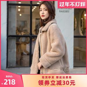 海宁新款短款羊羔毛大颗粒羊剪绒皮毛一体外套女年轻款洋气小个子248元