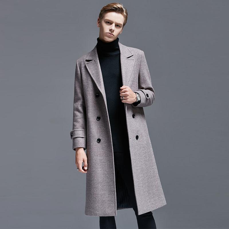 秋冬季英伦欧美风羊毛呢大衣中长款双排扣人字纹商务男士呢子外套