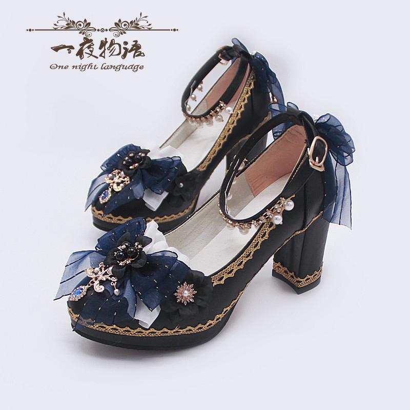 原创一夜物语lolita高跟鞋洛丽塔九歌百搭粗跟手作鞋子lo鞋花嫁