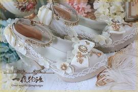 原创一夜物语正品Lolita鞋手作花嫁高跟洛丽塔高跟茶会舞会新娘鞋