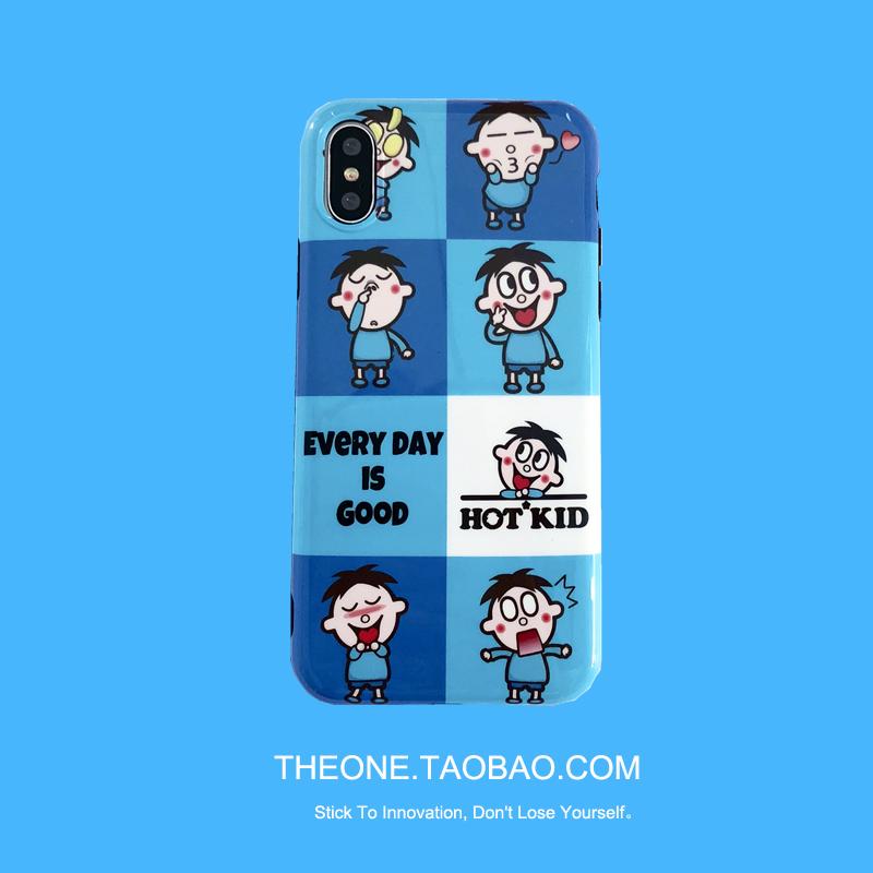 可爱蓝色拼图卡通一加6手机壳蓝光1+5t全包一加六创意5软壳男女款