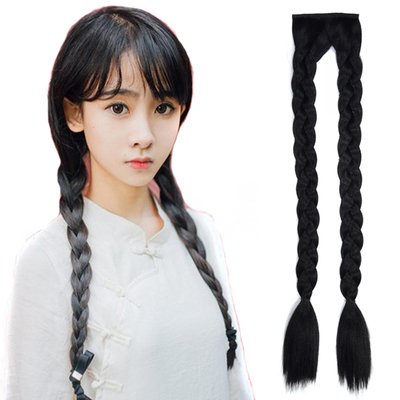 Photo studio costume wig double big braid twist braid retro style Republic of China stage performance long braid fake ponytail