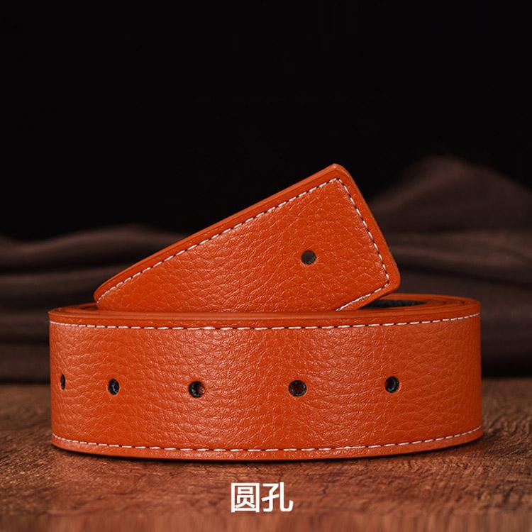 Belt mens leather smooth buckle body no button belt mens pants belt strip orange direct mail letter buckle